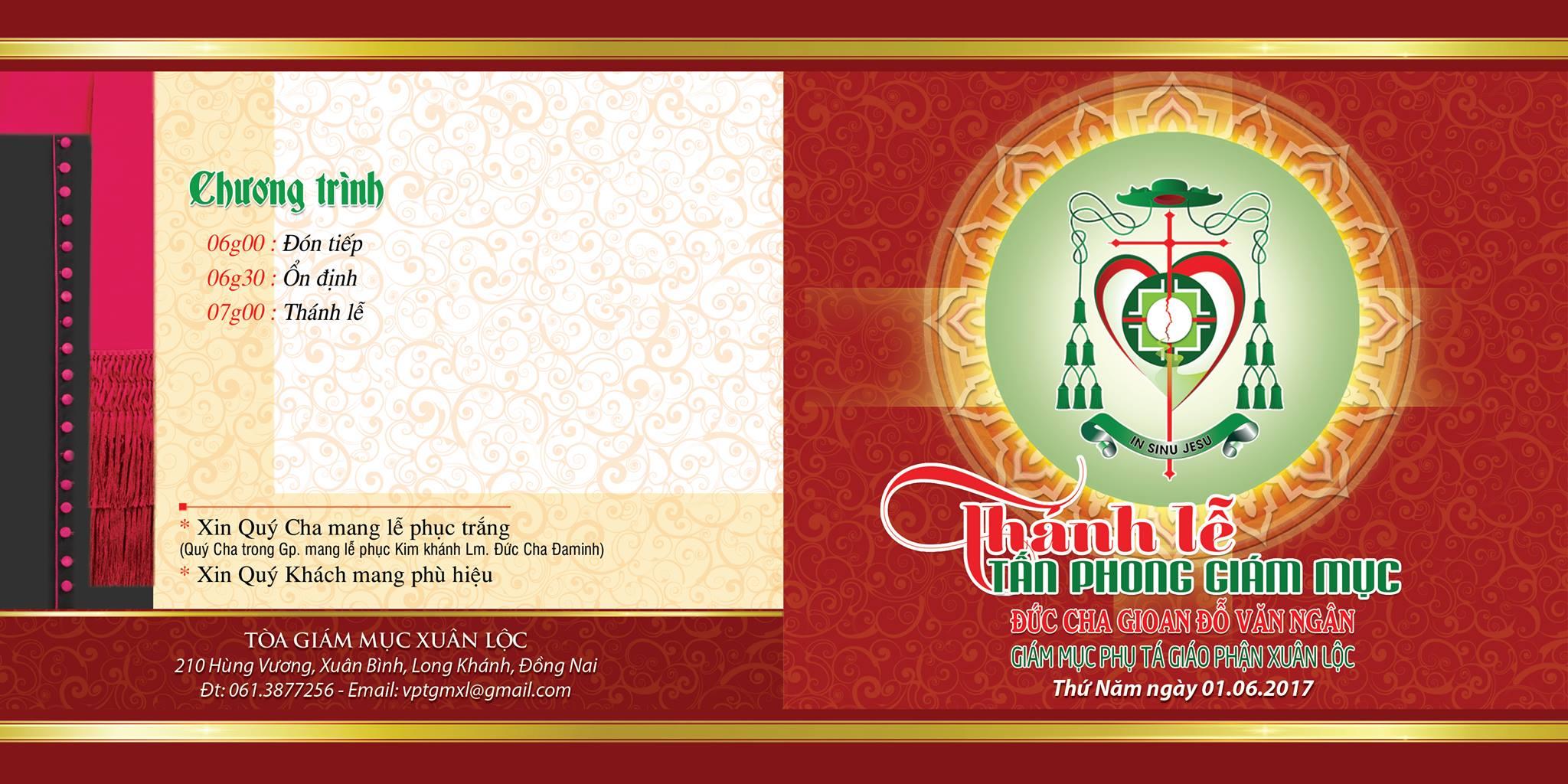 Thiệp mời Thánh Lễ Tấn Phong Giám mục Phụ tá Gioan Đỗ Văn Ngân
