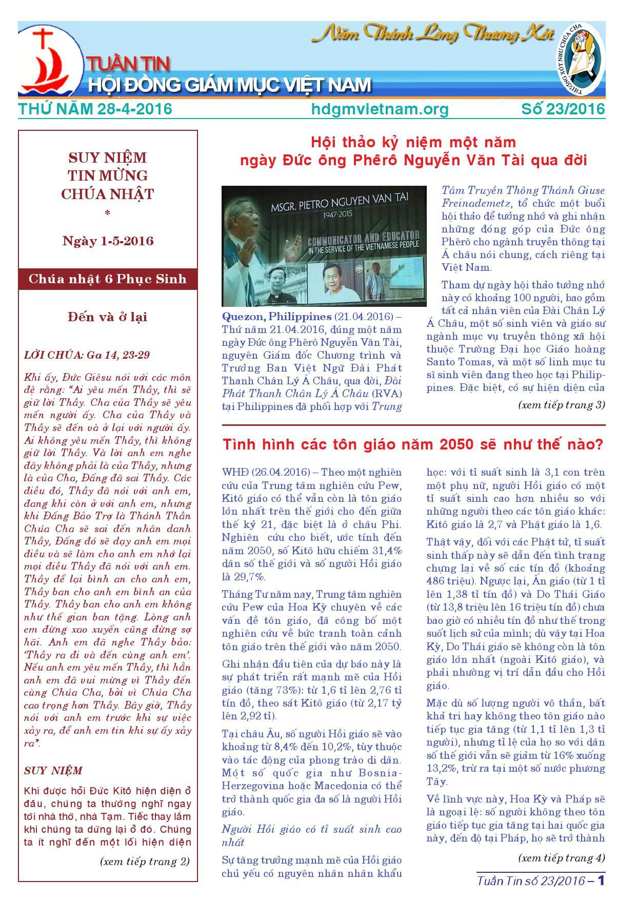 Tuần tin HĐGMVN số 23/2016