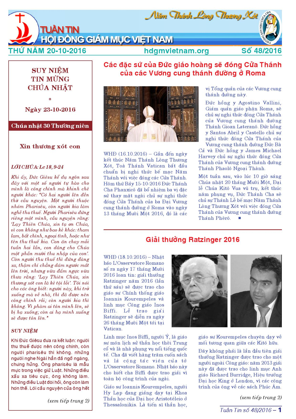 Tuần tin Hội đồng Giám mục Việt Nam số 48/2016