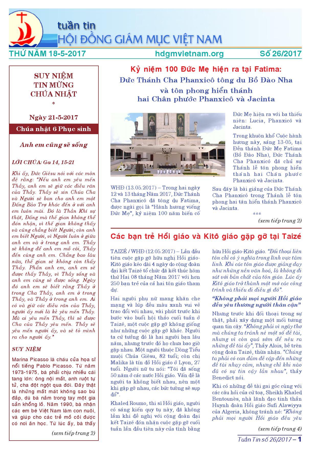 Tuần tin HĐGMVN số 26/2017