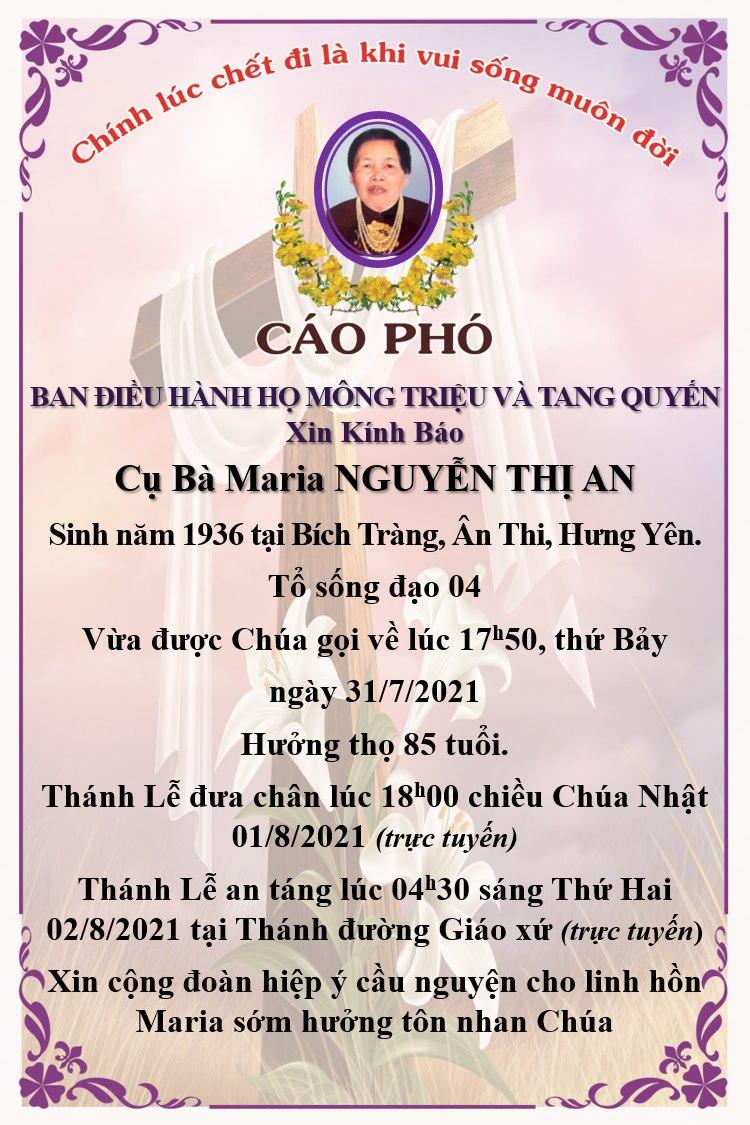 Cáo phó cụ bà Maria Nguyễn Thị An.
