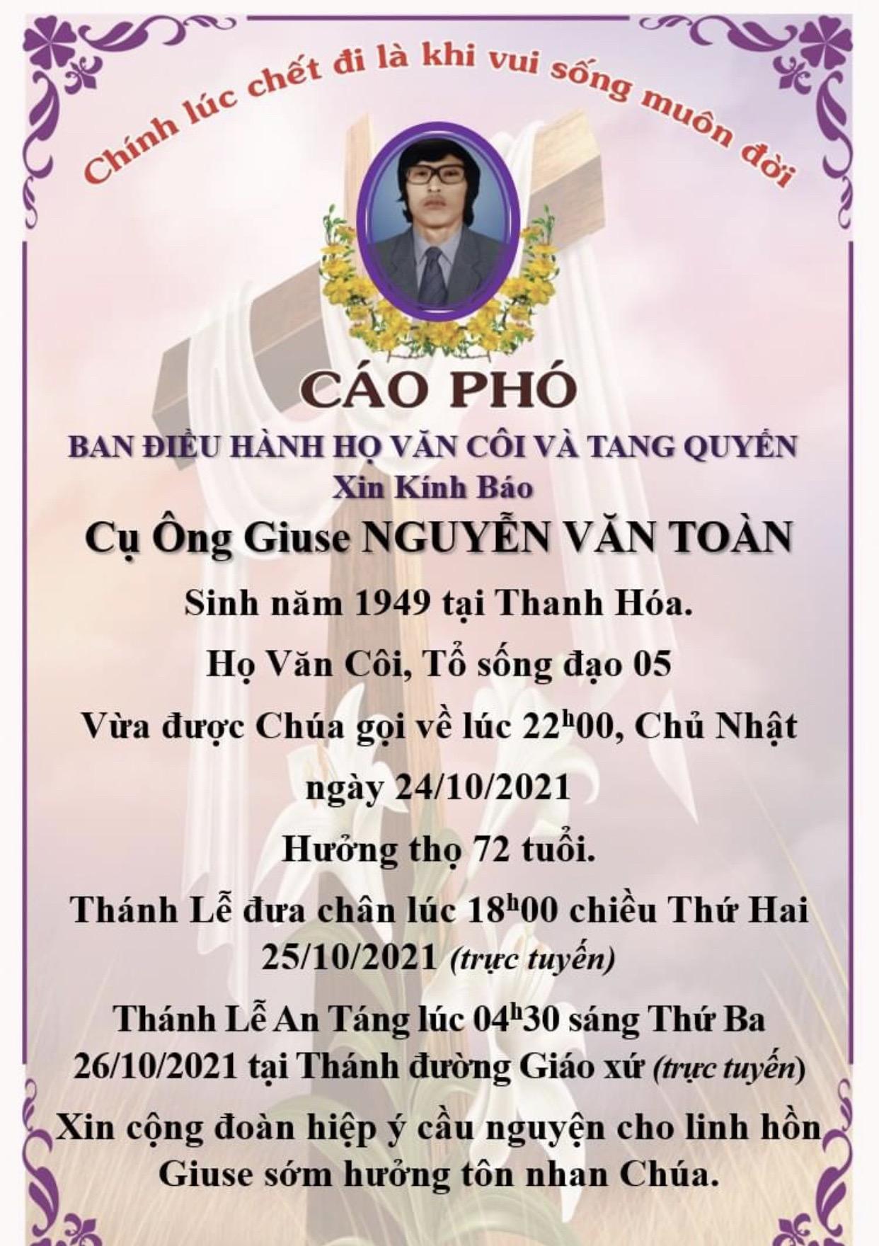 Cáo phó cụ ông Giuse Nguyễn Văn Toản.