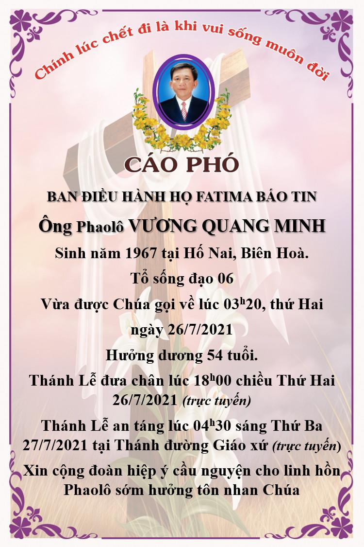Cáo phó ông Phaolô Vương Quang Minh.