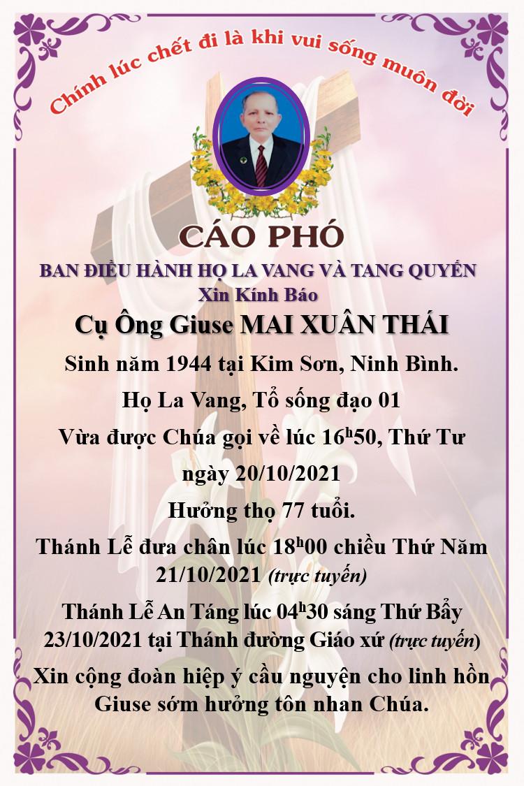 Cáo phó cụ ông Giuse Mai Xuân Thái.